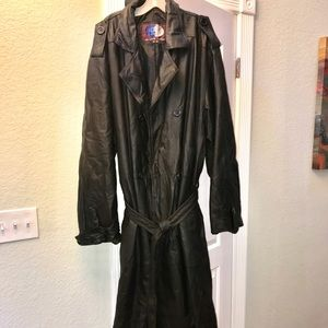 6 XL Leather Trench Coat - Big and Tall
